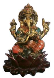 Bronskleurige Ganesha op lotus met boek 8 cm hoog