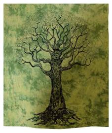 Bedsprei wandkleed grand foulard levensboom zwart groen 210 x 230 cm