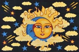 Een persoons bedsprei, wandkleed Zon Maan Wolken - 120 x 220 cm