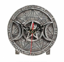 Alchemy The Vault - Wiccan Desk Clock - occulte klok met drievoudige maan en pentagram - 12 cm doorsnee