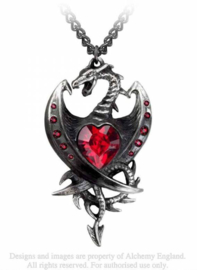 Alchemy Gothic design nekketting - Diamond Heart - Draak met rood steen  - 7.4 cm lang