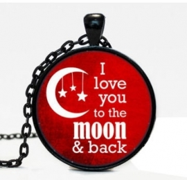 Glazen hanger op ketting ´Love you to the Moon´ Turks Vlag