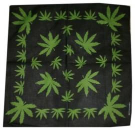 Bandana / wandkleed / tafelkleed groene wietbladen 2 - ca. 55 x 55 cm