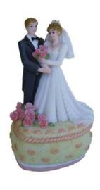 Huwelijk bruidspaar hartvormig doos 14 x 9 cm creme