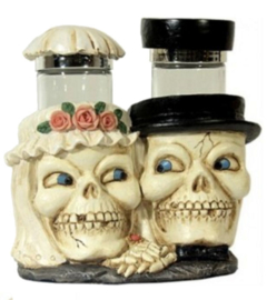 Zout- en Peperhouders - Skeletale huwelijkspaar - Newelyweds - 10 cm hoog