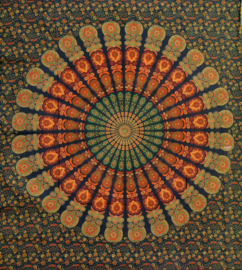 Bedsprei, wandkleed, grand foulard Paauw Groen Roest - 210 x 220 cm