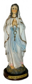 Virgin Mary Lourdes with white robe and rosary plint 19 cm