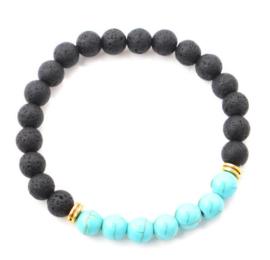 Chakra balancing natuurstenen armband zwart lavasteen en howliet
