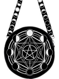 Restyle zwarte Gothic Wicca maanfasen schoudertas - Moon Circle Bag