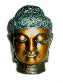 Thai Buddha head green and gold