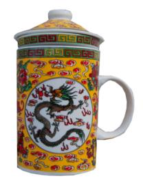 Driedelige porseleinen theemok - 14 x 7 cm - Geel met Grijze draak