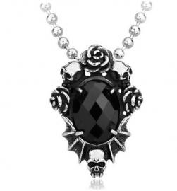 Doodskoppen met rozen en zwart steen ketting 316 titanium staal - 3 x 3.5 cm