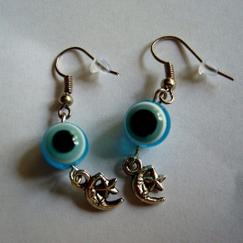 Evil eye oorbelletjes blauw 2