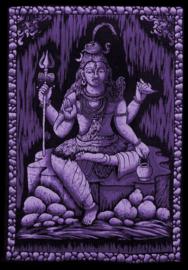 Indiase wandkleed muurkleed katoen Shiva driekleurig zwart wit paars - c.a.  80 x 110 cm
