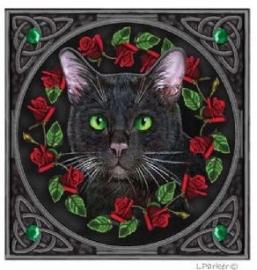 Kat met rode rozen - wenskaart Lisa Parker - 13 x 13 cm