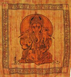 Bedsprei, wandkleed, grand foulard Ganesha Oranje - 220 x 240 cm