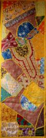Indiase wandkleed tafelkleed lapjesdessin geel 140 x 45 cm