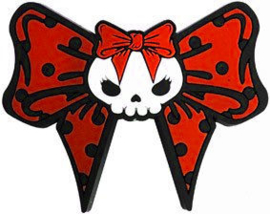 Kreepsville 666 haarschuifje met doodskop en polkadot lint