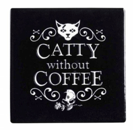 Alchemy of England keramieke onderzetter - Catty without Coffee - 9.3 x 9.3 cm