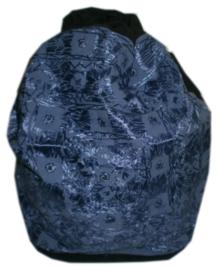Indiase rugzak katoen met satijnen draad en spiegeltjes - licht blauw