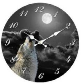 Klok - Huilende Wolf - 34 cm doorsnee