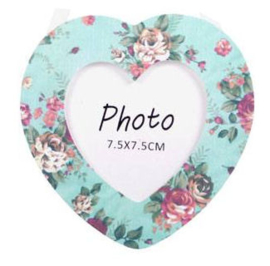Hartvormige mini fotolijst met bloemen - turquoise