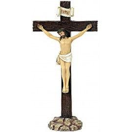 Jezus Christus op Kruis - staand beeld - 19 cm hoog