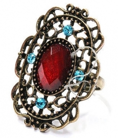 Bronskleurige filigree ring met rood steen