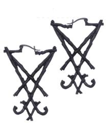 Restyle oorbellen - Sigil van Lucifer zwart