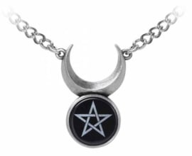 Alchemy Gothic design nekketting - Sin Horned God - Wicca Drievoudige Maan met Pentagram - 32 x 23 cm