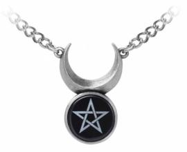 Alchemy Gothic design nekketting - Sin Horned God - Wicca Drievoudige Maan met Pentagram - 32 x 23 cm