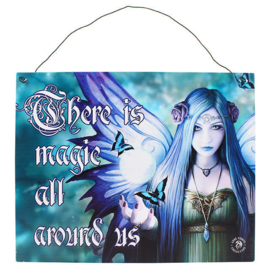 Metalen wandbord Anne Stokes - Magic around us- fee - 19 x 24 cm