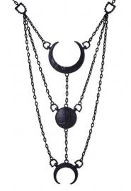 Restyle Gothic Wicca Occulte nekketting - Luna - maanfasen zwart