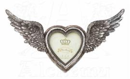 Victoriaanse fotolijst Gevleugeld Hart  - vleugels open - 19 x 36 cm