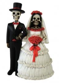 Eternally yours - huwelijkspaar met skeletten - 13 cm hoog