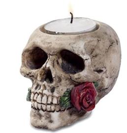 Doodskop met roos theelichthouder 6.5 x 9.5 x 6.5 cm