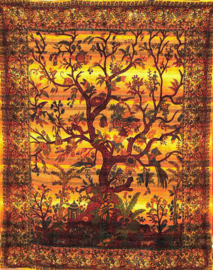 Bedsprei Levensboom / Tree of Life  goud / oranje 200 x 220 cm (2 pers) grove weef