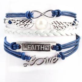Blauw witte leren en koord wraparmband love faith infinity engelenvleugels