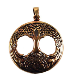 Ketting brons Keltische levensboom 3 cm doorsnee