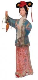 Chinese pop dame met zangvogel 30 cm hoog (gebroken)