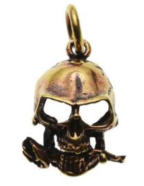 Ketting brons Doodskop met Roos - 3 x 1.5 cm
