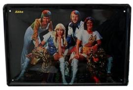 Blikken metalen wandbord ABBA 20 x 30 cm