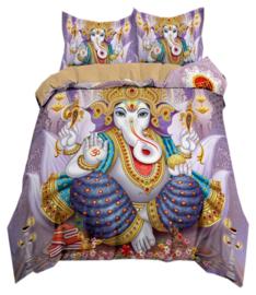 Dekbedovertrek met twee kussenhoezen - Ganesha blauw paars turquoise - 200 x 200 cm
