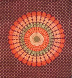 Bedsprei, wandkleed, grand foulard Paauw Mandala oranje - 210 x 220 cm