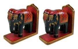 Indiase Olifanten Houten Boekensteunen - 17 x 17 x 8 cm