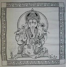 Bedsprei, wandkleed, grand foulard Ganesha Zwart Wit - 220 x 240 cm