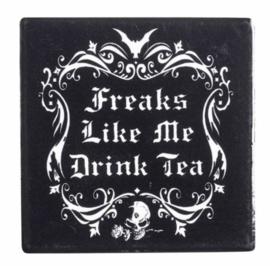 Alchemy of England keramieke onderzetter - Freaks like me drink tea - 9.3 x 9.3 cm
