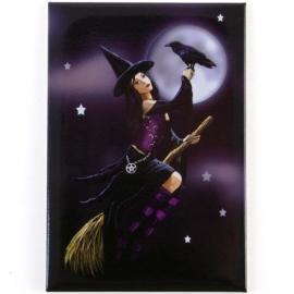 Witch on broom - magneet van Lisa Parker