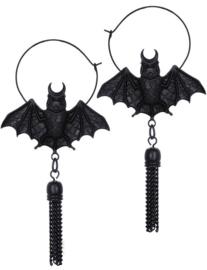 Restyle zwarte vleermuis hoep oorbellen - Oriental Bat