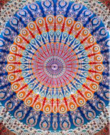 Bedsprei wandkleed grand foulard Indiase katoen paauw mandala rood blauw 220 x 240 cm